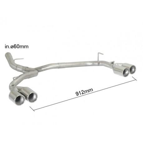 Tubes arrièreduplex inox g/d - 2 sorties rondes 80mm décalées Ragazzon BMW Série1 E81-E82-E87-E88 E81(3porte-3doors) 123d (150kW) 2007-