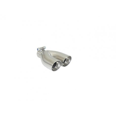 Sortie d'échappement ronde Sport Line 2x70mm inox - diamètre intérieur du tube d'entrée 50 mm - longueur 225 mm Ragazzon Universel Embouts RO.2x70