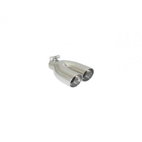 Sortie d'échappement de droite ronde Sport Line 2x70mm décalée inox - diamètre intérieur du tube d'entrée 50 mm - longueur 225-240 mm Ragazzon Universel Embouts RO.2x70