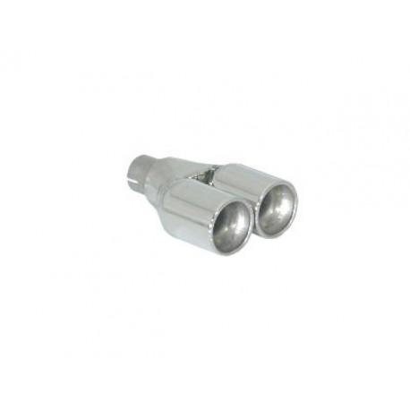 Sortie d'échappement ronde 2x80mm inox - diamètre intérieur du tube d'entrée 50 mm - longueur 225 mm Ragazzon Universel Embouts RO.2x80