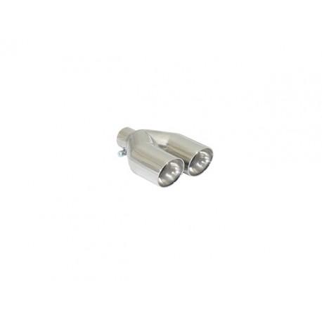 Sortie d'échappement ronde Sport Line 2x80mm inox - diamètre intérieur du tube d'entrée 50 mm - longueur 225 mm Ragazzon Universel Embouts RO.2x80