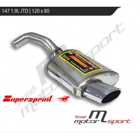 Silencieux arrière inox 147 1.6L, 2.0L, 1.9L JTD (100/110/115/140/150ch) ->2004 | 1 sortie ovale 145x95